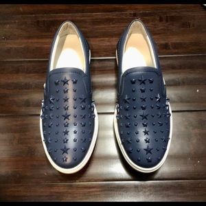 Jimmy Choo Grove Ocean Calf Leather Stars Blue 40
